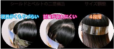 シールドとベルトの二十構造 サイズ調整4段階 視界がくもりづらい 前髪が崩れにくい